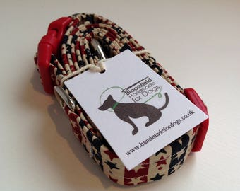 Stars and Stripes dog collar and lead set