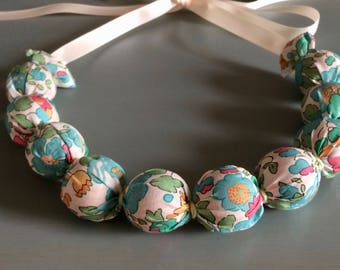 Handmade Fabric Bead necklace - liberty fabric - blue green floral - jewellery