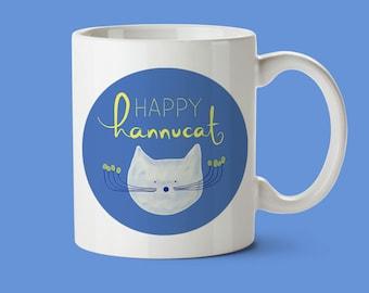 hannukah mug, hannukah gift, hannukah decor, hannukah decorations, funny cat mug, jewish gift, jewish art