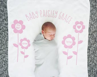 New Baby Blanket - New Baby Gift - Personalised Baby Blanket - Personalised Flower New Baby Blanket