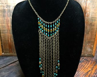 Turquoise Glass Chain Necklace