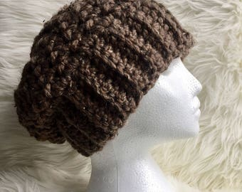 Warm chunky crochet slouchy winter hat