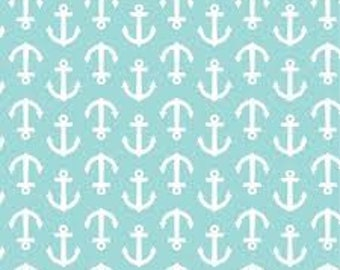 "White Anchors on Aqua fabric by waverly - by the half yard - 43-44"" wide, 100%cotton, novelty fabric, anchor fabric, nautical fabric"
