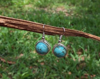 Wrapped turquoise earrings