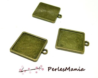 1 support pendants quality square 20mm BRONZE ID27670 extra