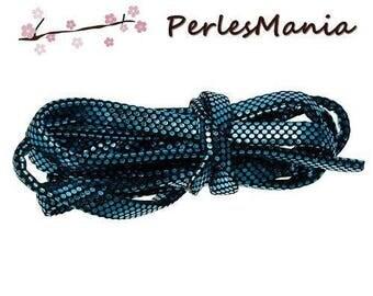 BLUE glitter leatherette S1169159 disco style 6mm flat cord 2 m