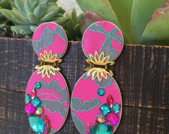 Earrings - Party Earrings - Women Jewelry - Colorful Earrings - Rhinestone Earrings - Statement Earrings - Fabric Earrings - Long Earrings