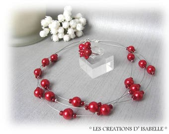 Set red wedding Pearl Necklace and ring melody 3 rows