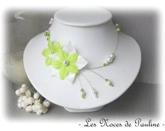 Green and white wedding flower silk Julia necklace