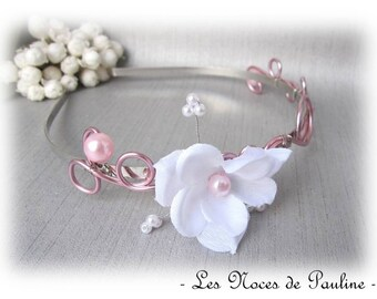 Bridal white and pink 'Les Volutes' flower headband