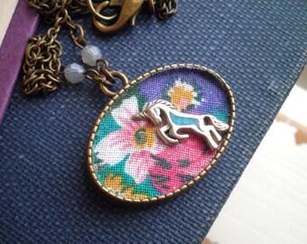 Silver Unicorn Necklace - Vintage Floral Fabric Wildflowers Bohemian Unicorn + Gray Crystal Pendant - Retro Textile Fabric Art Jewelry Gift