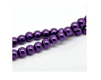 Set of 50 6 mm dark purple Pearl glass beads