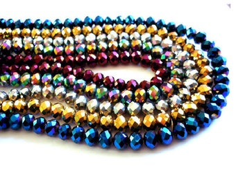 Set of 10 8 mm x 6 mm Golden faceted glass Crystal beads