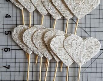 Burlap lace hearts 12 cupcake picks
