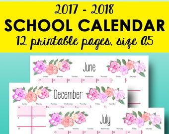 2017-2018 School Calendar Printable, Academic Calendars, A5 Monthly Planner Calendars, Filofax Monthly Printable Inserts A5 Instant Download