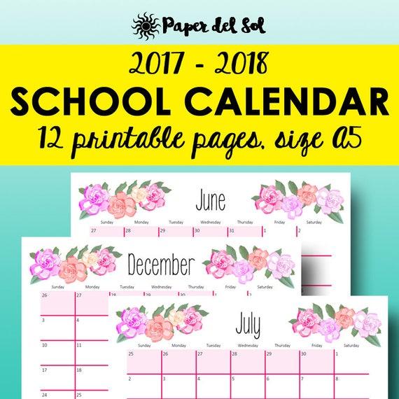 2018 2018 school calendar printable