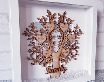 Family tree frame / wooden family tree / wooden tree / box frame family tree / family tree frame / our family tree / wooden family tree
