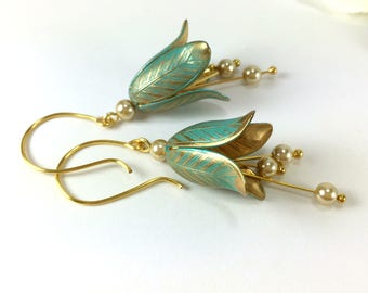 Gold Flower Earrings Tulip Flower Dangle Earrings Tulip Pearl Drop Dangle Earrings VerdigrisTulip Jewelry Nature Botanical Floral Jewelry