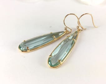 Aquamarine Earrings Gold Aquamarine Earrings Aquamarine Dangle Earrings Aqua Blue Drop Earring Long Aquamarine Teardrop Wedding Earring Blue