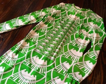 Mr. Dino 1970s Couture Green and White Psychedelic Printed Maxi Dress with Front Slit and Longsleeves