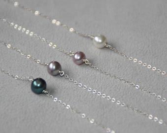 Single Pearl Bracelet. Freshwater Pearl Bracelet. Sterling Silver bracelet. Dainty jewelry. Minimalist. Bridesmaid jewelry. Valentines day.