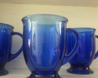 Cobalt Blue Glass Mugs Glass Coffee Mugs Blue
