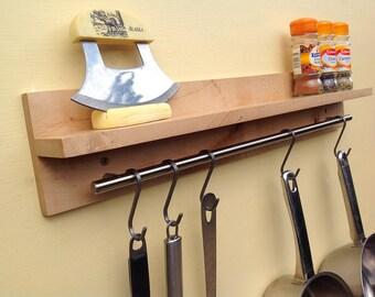 Kitchen Pot Rack. Saucepan, Mug Or Utensil Hanging Rack. Saucepan Hanger.  Pan