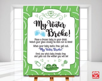 My Water Broke Game, Peas in a Pod Shower Game Printable, Twins Baby Shower, Sweet Pea, Gender Neutral Shower, 8x10 Instant Download, JPG