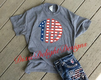 Fourth of July Glitter Stars and Stripes Monogram Tee