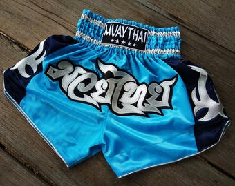 New Custom Muay Thai Boxing Shorts Martial Arts - Light Blue