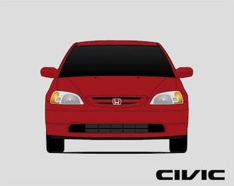 Honda Civic Coupe Poster // Civic 7th Generation // Civic EX HX LX // Honda Print