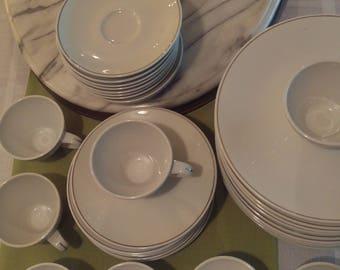 Mid-Century Kenmark vintage table setting, white and platinum, dinner plates, salad dessert plates, tea cups and saucers, fine dining