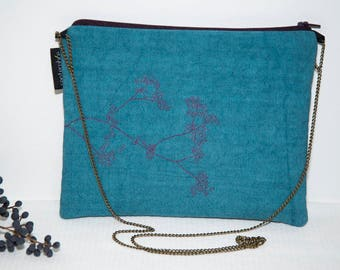 Embroidered small turquoise evening bag / fabric clutch / purse with chain bronze / pouch ceremony / nature inspired