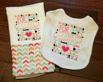 Arrow scripture baby girl bib and burp cloth.