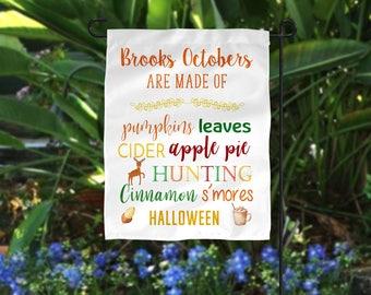 Garden Flag, Personalized Garden Flag, Fall Garden Flag, Hunting Garden Flag, Pumpkin Garden Flag, Halloween Flag, Happy Fall Flag