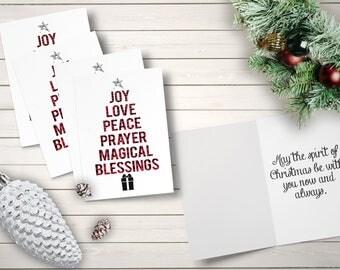 Buffalo Print Christmas Cards, Christmas Tree Cards, Red and Black Christmas Cards, Religious Christmas Cards, Joy Peace Love Cards