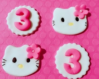12 Hello Kitty fondant cupcake toppers-Hello Kitty Birthday-Hello Kitty cupcake toppers-Hello Kitty party