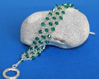 Bracelet with Swarovski crystals - Emerald