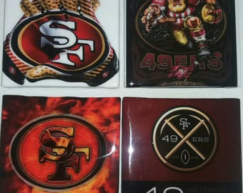 San Francisco 49ers Coasters/ Football Coasters/ Man Cave Decor/ Football Decor/ Man Cave Coasters/ Coasters/ Personalized Coasters