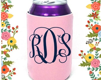Monogrammed can cooler , monogram gifts for her , bridesmaid gifts , preppy Summer gift , personalized gifts , customized can hugger