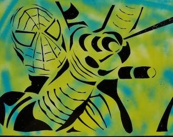 Spiderman Web Slinger Marvel Avengers Comics Spray Paint Art