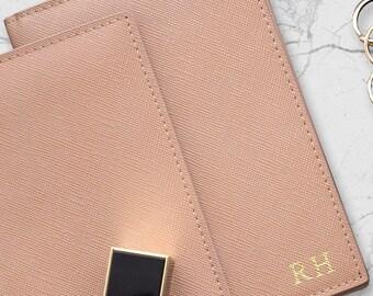Saffiano Leather Passport Holder Monogram Camel Navy Grey