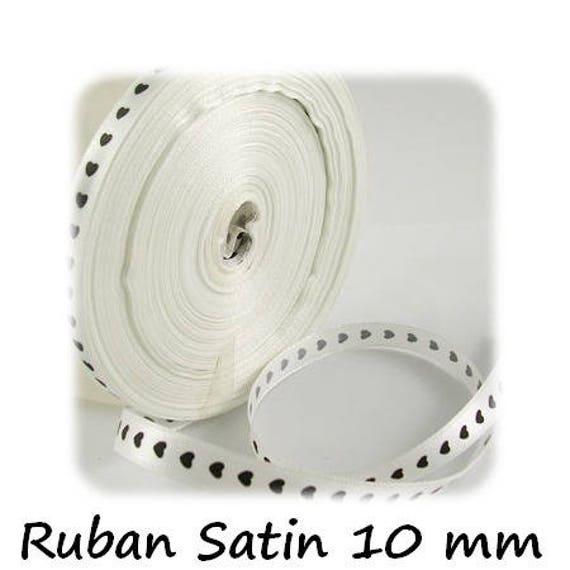 Satin Ribbon 10 mm [WhiteandBlackHearts] x 1 meter