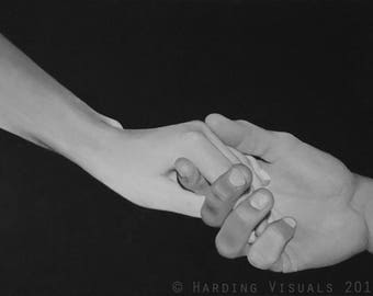 Black and White Hands Oil Painting