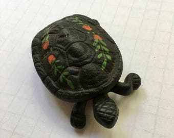 Cast Iron Wilton Turtle Trinket Box - Cast Iron Turtle Box - Amish Themed Turtle Trinket Box - Black Turtle with Flowers and Vines