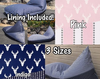 Bean Bag Chair or Lounger - Choose Your Size and Pattern - Waterproof Lining Included!