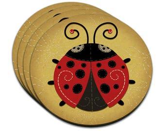 Cute Ladybug Mdf Wood Coaster Set Of 4