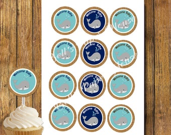 Whale theme Cupcake Topper, Gift Tags, Favor Sticker, Baby Shower, Birthday Party,Printable, Instant Download, Customizable