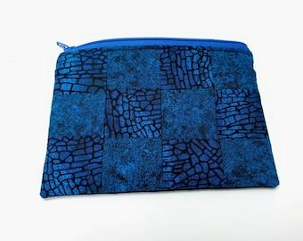 Blue squares patchwork pouch - patchwork make up pouch - blue zipper lined purse - blue make up pouch - lined zipper bag - mini clutch bag