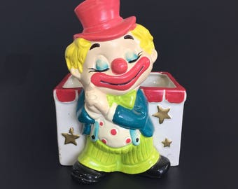 Napcoware Sleepy Clown Planter Vintage Made in Japan Bright Colors